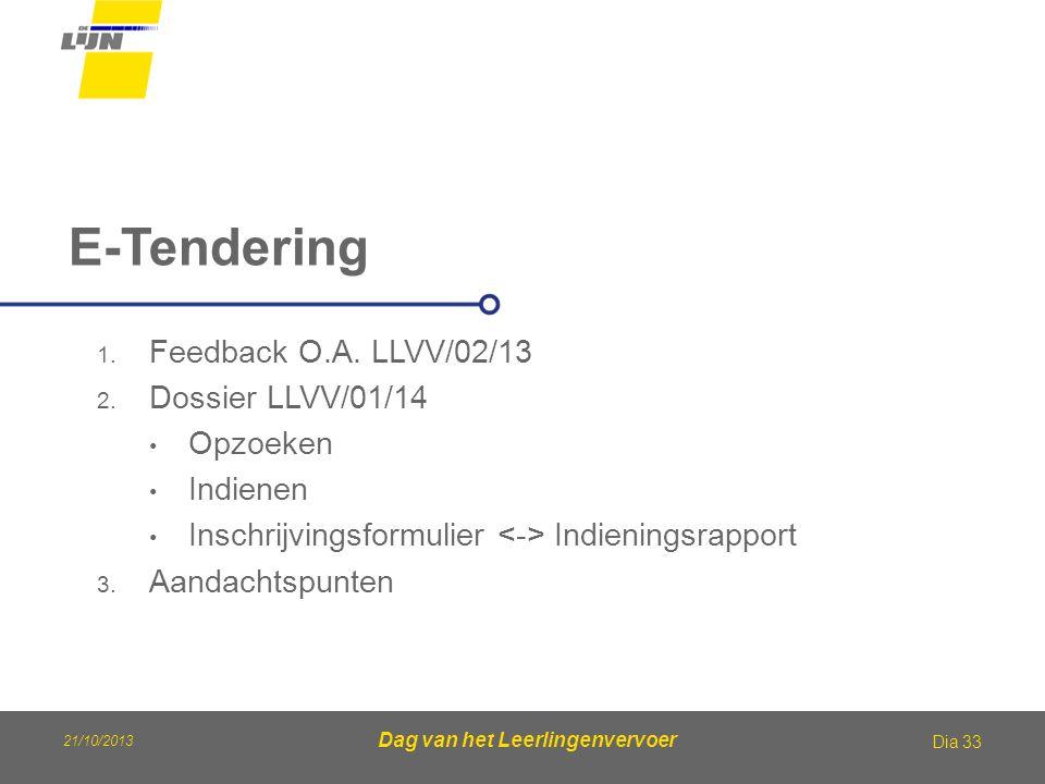 21/10/2013 Dag van het Leerlingenvervoer E-Tendering Dia 33 1. Feedback O.A. LLVV/02/13 2. Dossier LLVV/01/14 Opzoeken Indienen Inschrijvingsformulier