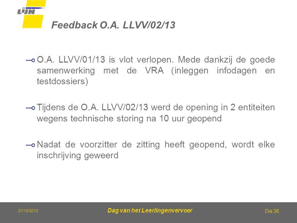 21/10/2013 Dag van het Leerlingenvervoer Feedback O.A. LLVV/02/13 Dia 36 O.A. LLVV/01/13 is vlot verlopen. Mede dankzij de goede samenwerking met de V