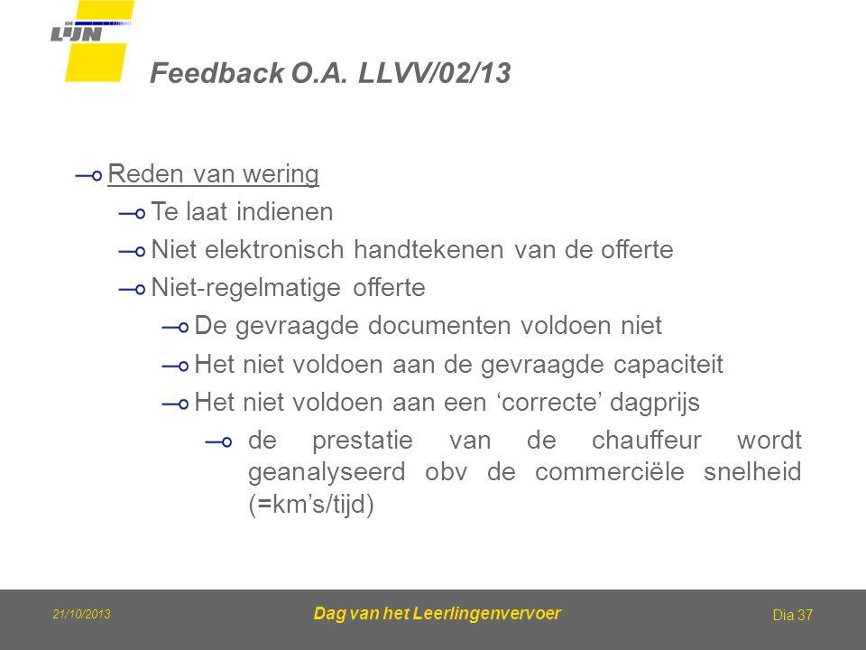 21/10/2013 Dag van het Leerlingenvervoer Feedback O.A. LLVV/02/13 Dia 37 Reden van wering Te laat indienen Niet elektronisch handtekenen van de offert