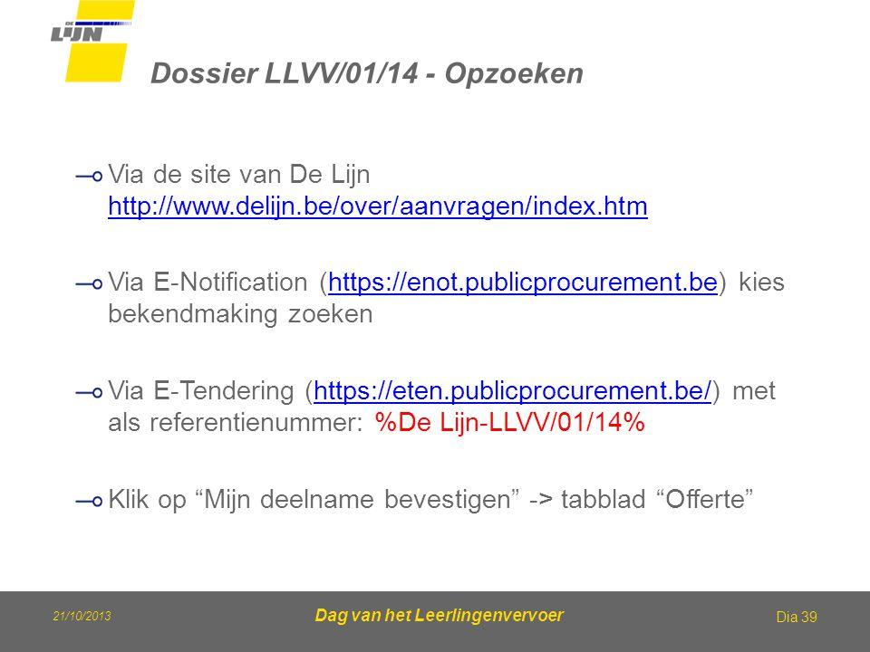 21/10/2013 Dag van het Leerlingenvervoer Dossier LLVV/01/14 - Opzoeken Dia 39 Via de site van De Lijn http://www.delijn.be/over/aanvragen/index.htm ht