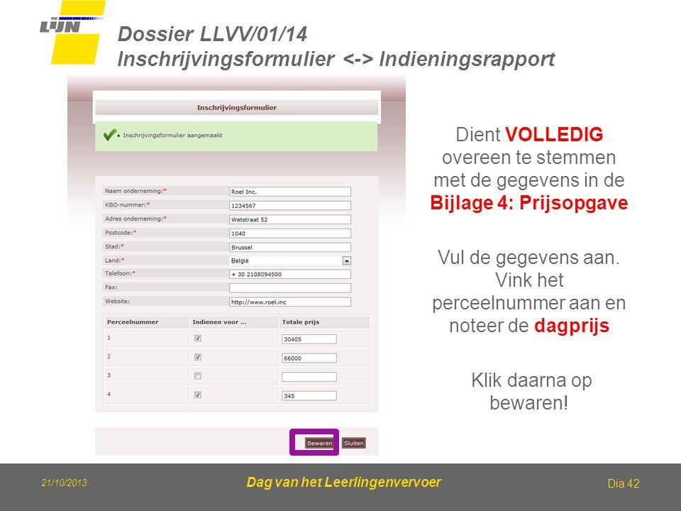 21/10/2013 Dag van het Leerlingenvervoer Dossier LLVV/01/14 Inschrijvingsformulier Indieningsrapport Dia 42 Dient VOLLEDIG overeen te stemmen met de g