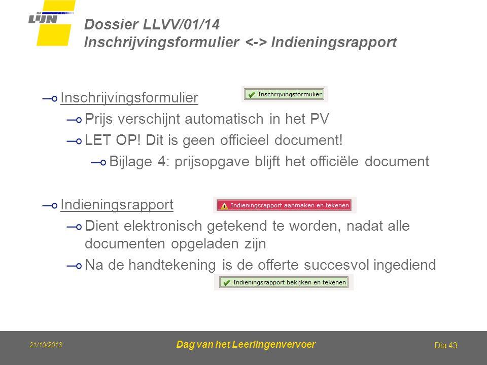 21/10/2013 Dag van het Leerlingenvervoer Dossier LLVV/01/14 Inschrijvingsformulier Indieningsrapport Dia 43 Inschrijvingsformulier Prijs verschijnt au