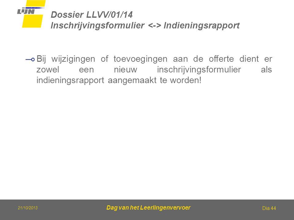 21/10/2013 Dag van het Leerlingenvervoer Dossier LLVV/01/14 Inschrijvingsformulier Indieningsrapport Dia 44 Bij wijzigingen of toevoegingen aan de off