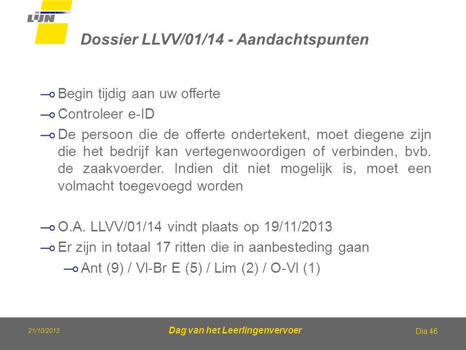 21/10/2013 Dag van het Leerlingenvervoer Dossier LLVV/01/14 - Aandachtspunten Dia 46 Begin tijdig aan uw offerte Controleer e-ID De persoon die de off