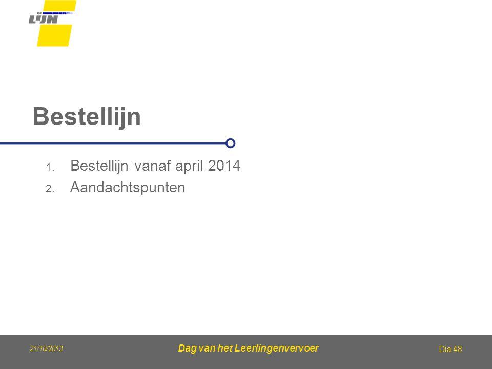 21/10/2013 Dag van het Leerlingenvervoer Bestellijn Dia 48 1. Bestellijn vanaf april 2014 2. Aandachtspunten