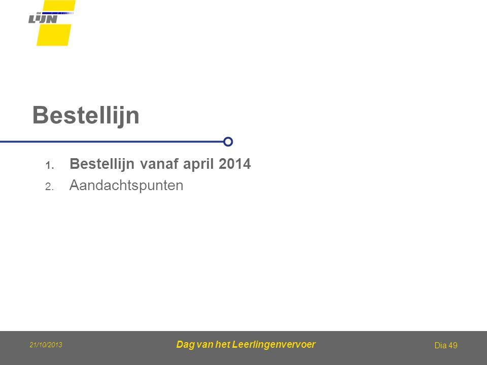21/10/2013 Dag van het Leerlingenvervoer Bestellijn Dia 49 1. Bestellijn vanaf april 2014 2. Aandachtspunten