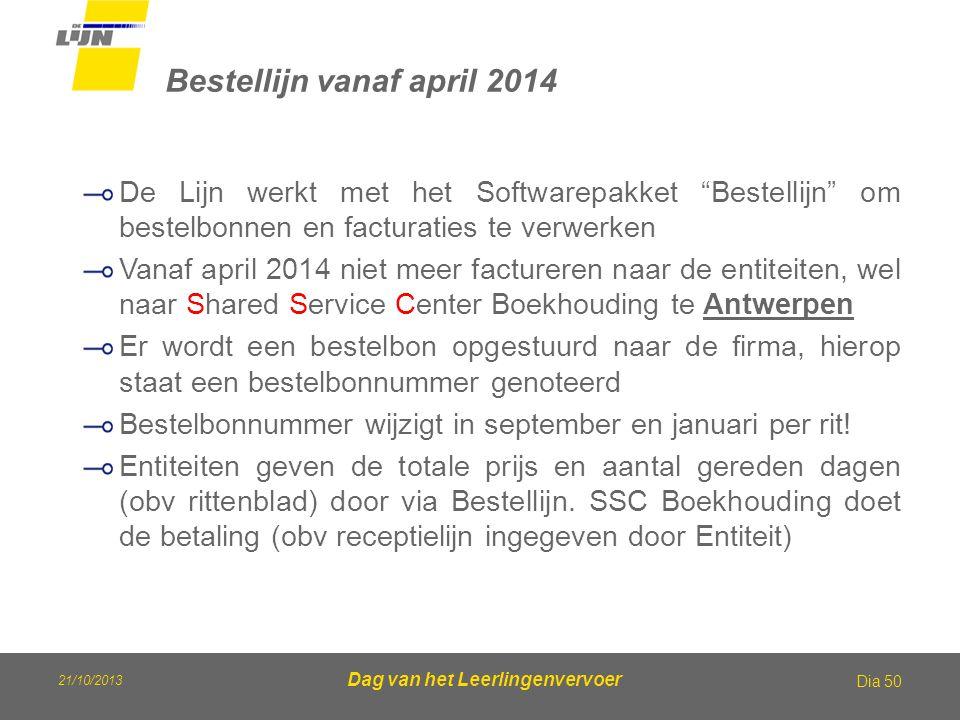 """Dag van het Leerlingenvervoer Bestellijn vanaf april 2014 Dia 50 De Lijn werkt met het Softwarepakket """"Bestellijn"""" om bestelbonnen en facturaties te v"""