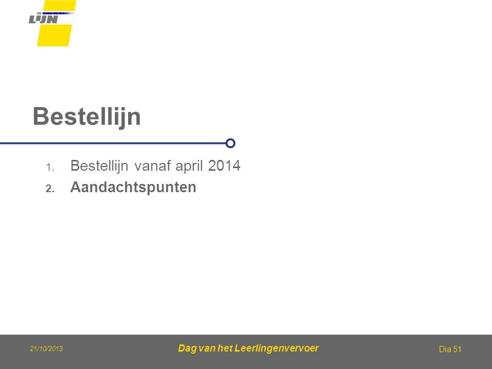 Dag van het Leerlingenvervoer Bestellijn Dia 51 1. Bestellijn vanaf april 2014 2. Aandachtspunten