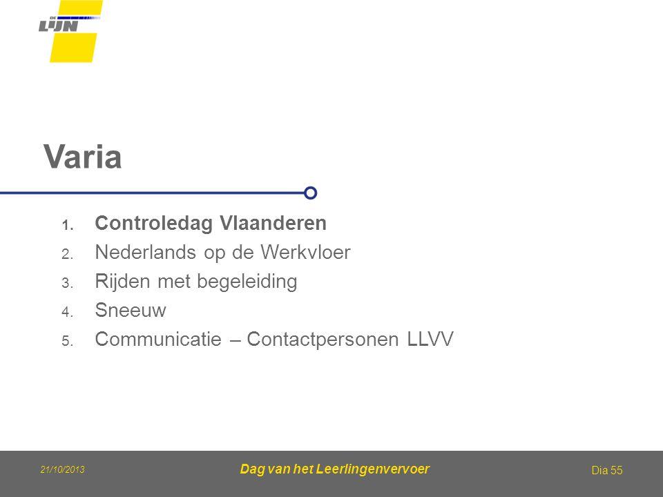 21/10/2013 Dag van het Leerlingenvervoer Varia Dia 55 1. Controledag Vlaanderen 2. Nederlands op de Werkvloer 3. Rijden met begeleiding 4. Sneeuw 5. C