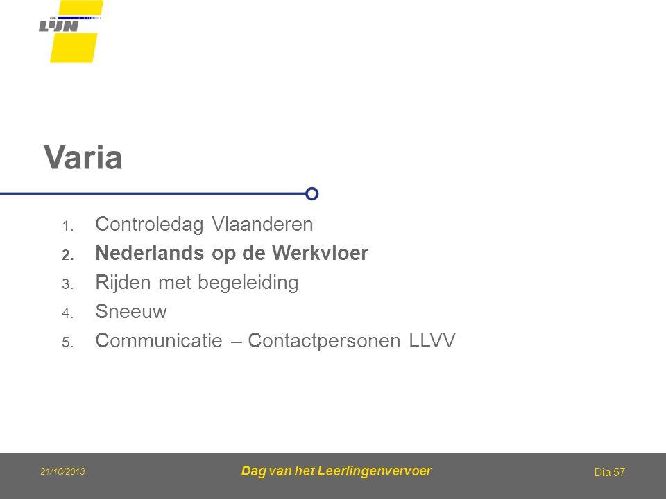Dag van het Leerlingenvervoer Varia Dia 57 1. Controledag Vlaanderen 2. Nederlands op de Werkvloer 3. Rijden met begeleiding 4. Sneeuw 5. Communicatie