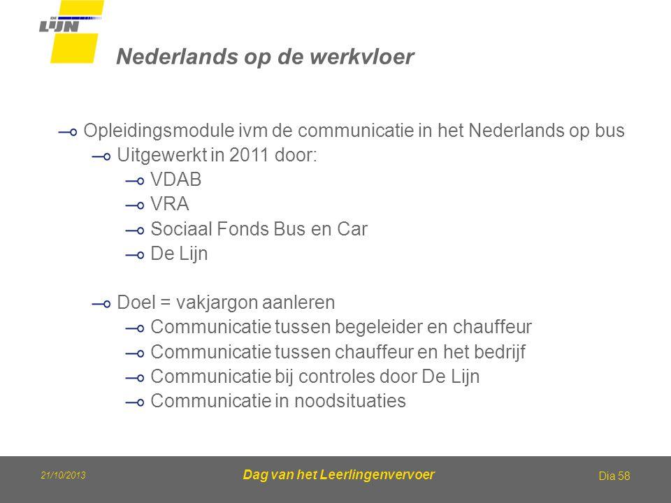Dag van het Leerlingenvervoer Nederlands op de werkvloer Dia 58 Opleidingsmodule ivm de communicatie in het Nederlands op bus Uitgewerkt in 2011 door:
