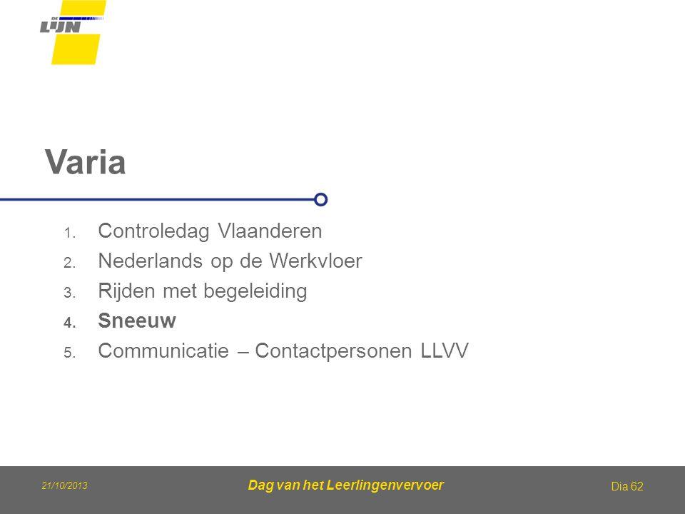 Dag van het Leerlingenvervoer Varia Dia 62 1. Controledag Vlaanderen 2. Nederlands op de Werkvloer 3. Rijden met begeleiding 4. Sneeuw 5. Communicatie