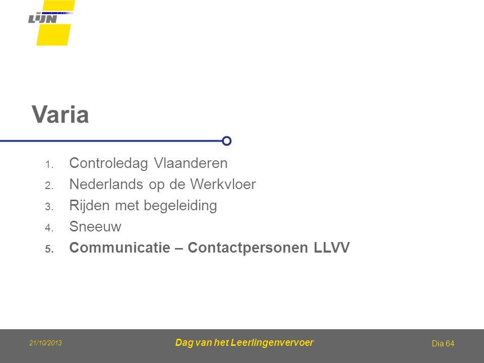 Dag van het Leerlingenvervoer Varia Dia 64 1. Controledag Vlaanderen 2. Nederlands op de Werkvloer 3. Rijden met begeleiding 4. Sneeuw 5. Communicatie