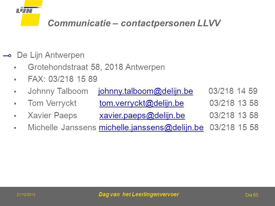 Communicatie – contactpersonen LLVV De Lijn Antwerpen  Grotehondstraat 58, 2018 Antwerpen  FAX: 03/218 15 89  Johnny Talboom johnny.talboom@delijn.