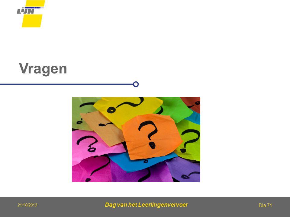 21/10/2013 Dag van het Leerlingenvervoer Vragen Dia 71