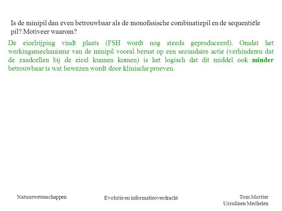Tom Mortier Ursulinen Mechelen Natuurwetenschappen Evolutie en informatieoverdracht Is de minipil dan even betrouwbaar als de monofasische combinatiep