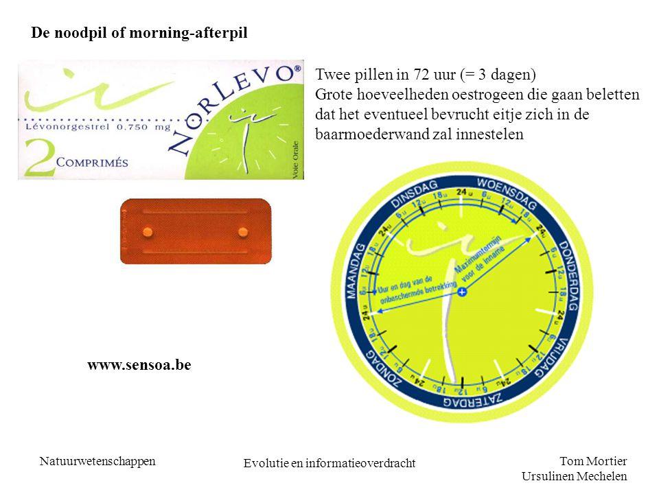 Tom Mortier Ursulinen Mechelen Natuurwetenschappen Evolutie en informatieoverdracht De noodpil of morning-afterpil Twee pillen in 72 uur (= 3 dagen) G