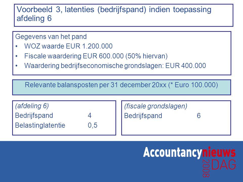 Voorbeeld 3, latenties (bedrijfspand) indien toepassing afdeling 6 (afdeling 6) Bedrijfspand4 Belastinglatentie0,5 (fiscale grondslagen) Bedrijfspand6