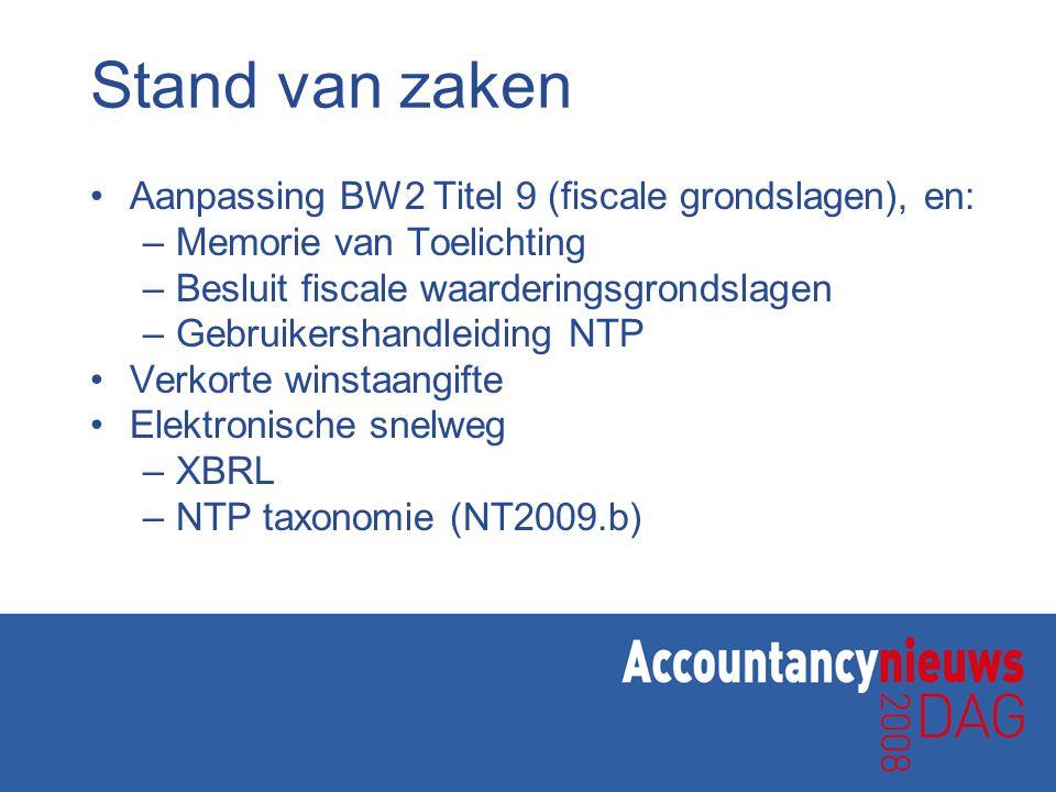Stand van zaken Aanpassing BW2 Titel 9 (fiscale grondslagen), en: –Memorie van Toelichting –Besluit fiscale waarderingsgrondslagen –Gebruikershandleid