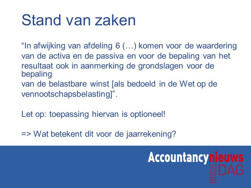 Conclusie voorbeeld 2 Toepassing fiscale grondslagen leidt tot een afname van de solvabiliteit (althans op papier) van 25%
