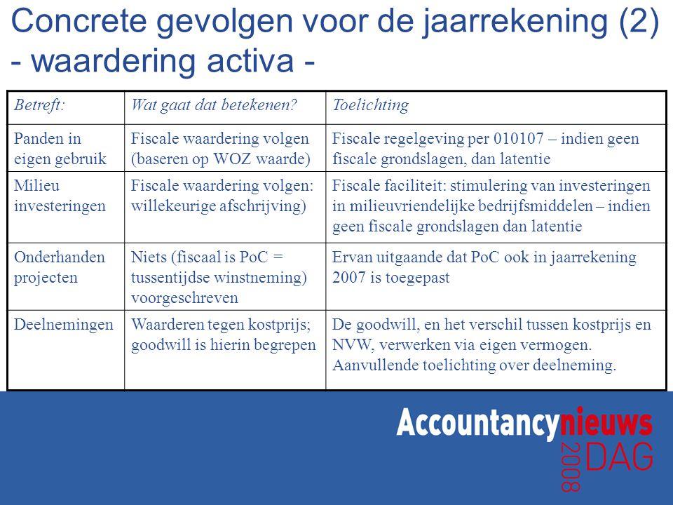 Betreft:Wat gaat er veranderen?Toelichting Toelichting op de jaarrekening Minder toelichting: uitgangspunt is wettelijk minimum (BW2 Titel 9) De jaarrekening krijgt een compliance karakter (efficiency) Stelselwijziging en toepassing fiscale grondslagen Aanvullende toelichting: - toepassing fiscale grondslagen - stelselwijziging Aanvullende toelichting dient om gebruikers inzicht te geven in toepassing nieuw (fiscaal) stelsel Overige vermeldingen De herziene wet schrijft enkele aanvullende eisen voor Vooral bij buitengewone waardecorrecties, en bij significante afwijkingen t.o.v.