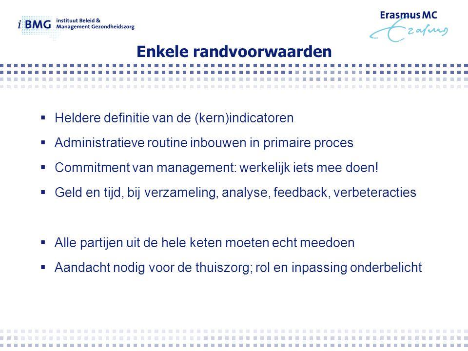Enkele randvoorwaarden  Heldere definitie van de (kern)indicatoren  Administratieve routine inbouwen in primaire proces  Commitment van management: werkelijk iets mee doen.