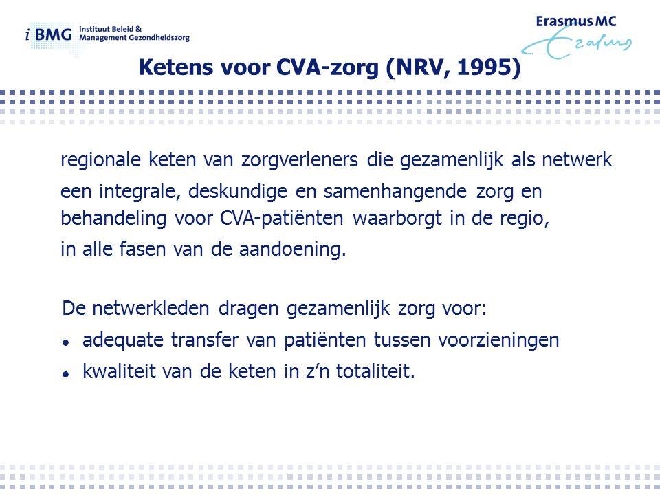 Ketens voor CVA-zorg (NRV, 1995) regionale keten van zorgverleners die gezamenlijk als netwerk een integrale, deskundige en samenhangende zorg en behandeling voor CVA-patiënten waarborgt in de regio, in alle fasen van de aandoening.