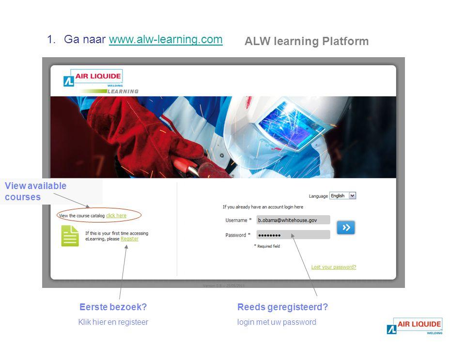 ALW learning Platform Eerste bezoek. Klik hier en registeer Reeds geregisteerd.