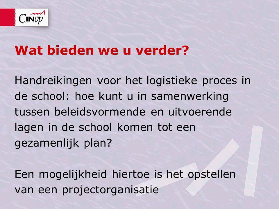 Wat bieden we u verder? Handreikingen voor het logistieke proces in de school: hoe kunt u in samenwerking tussen beleidsvormende en uitvoerende lagen