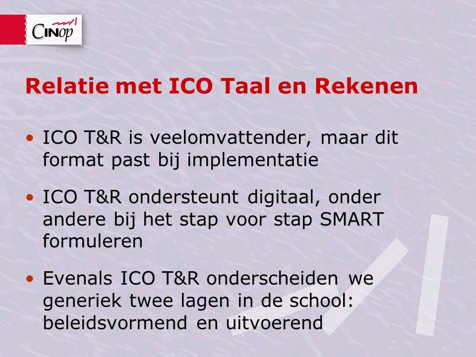 Relatie met ICO Taal en Rekenen ICO T&R is veelomvattender, maar dit format past bij implementatie ICO T&R ondersteunt digitaal, onder andere bij het