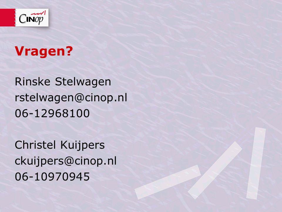 Vragen? Rinske Stelwagen rstelwagen@cinop.nl 06-12968100 Christel Kuijpers ckuijpers@cinop.nl 06-10970945