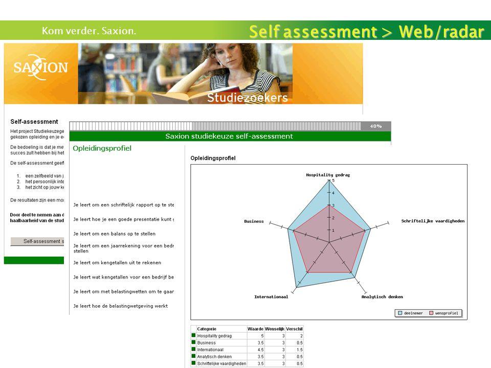 Kom verder. Saxion. Self assessment > Web/radar