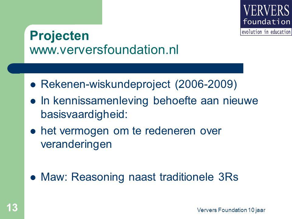 Ververs Foundation 10 jaar 13 Projecten www.verversfoundation.nl Rekenen-wiskundeproject (2006-2009) In kennissamenleving behoefte aan nieuwe basisvaardigheid: het vermogen om te redeneren over veranderingen Maw: Reasoning naast traditionele 3Rs