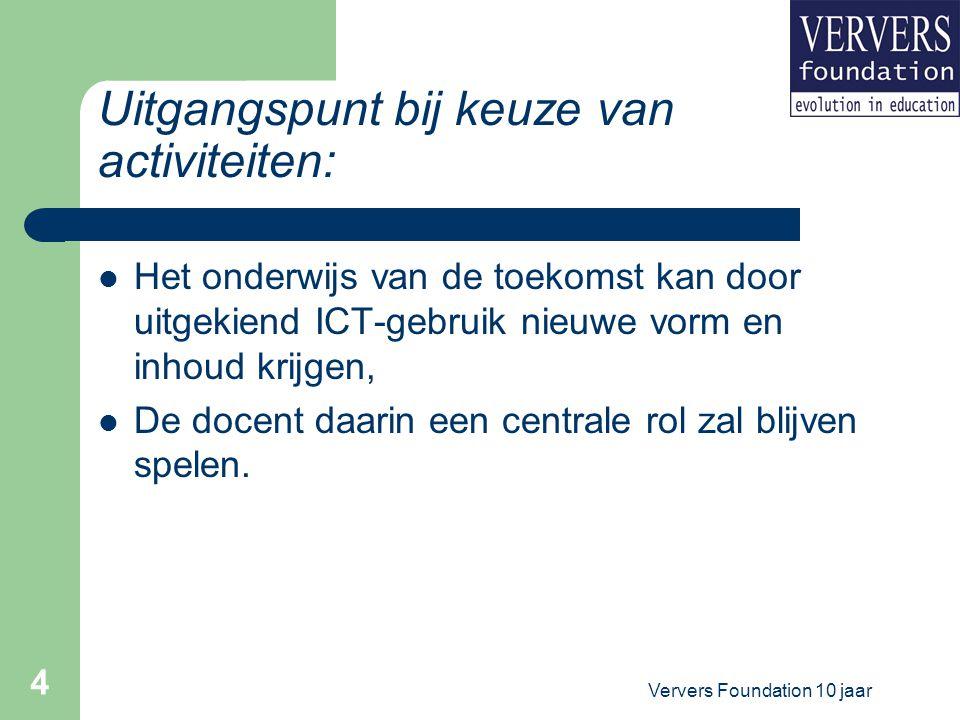 Ververs Foundation 10 jaar 5 Classificatiesysteem voor digitale leermiddelen (2000) Ellen van den Berg (UTwente, nu Edit Stein Pabo), Peter Blijleven & Leanne Jansen Zie digitale postersessies Projecten www.verversfoundation.nl