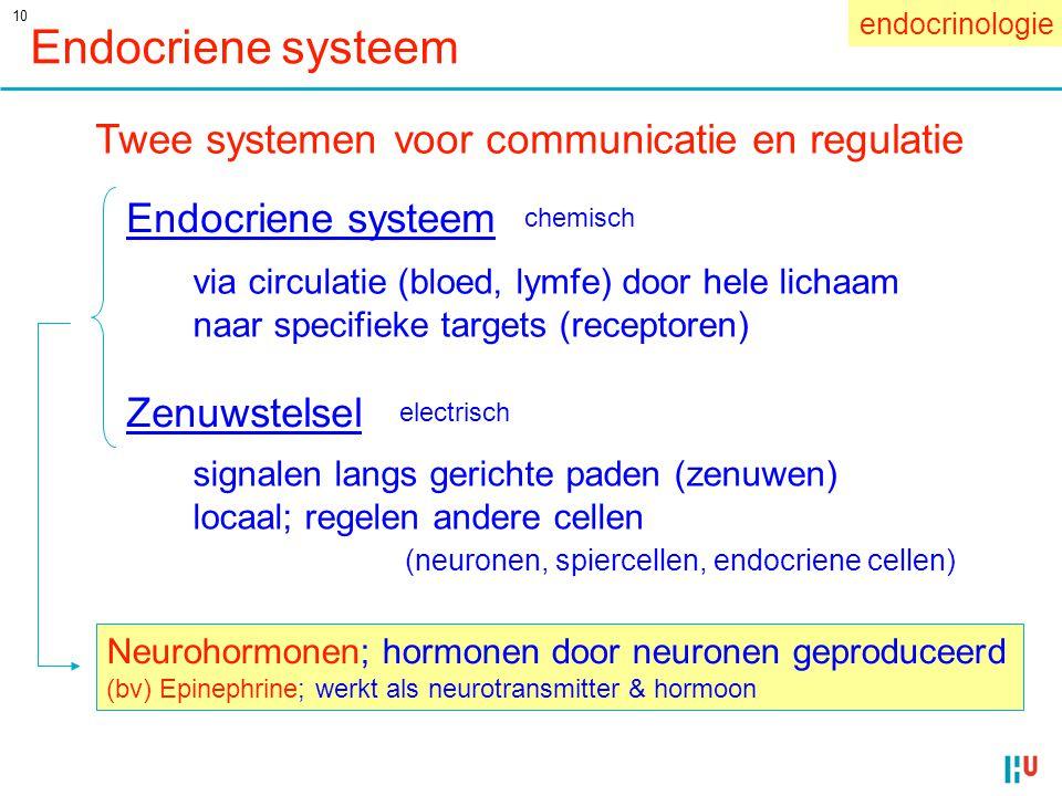 10 Endocriene systeem Twee systemen voor communicatie en regulatie Endocriene systeem Zenuwstelsel Neurohormonen; hormonen door neuronen geproduceerd