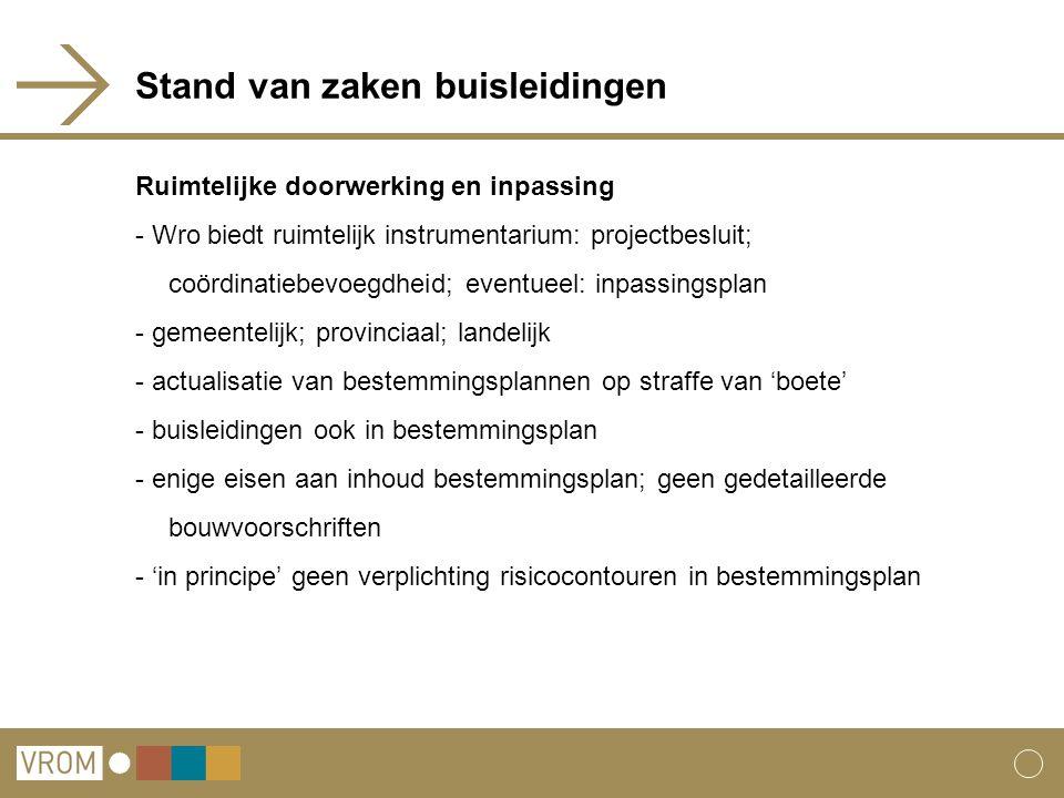 Stand van zaken buisleidingen Ruimtelijke doorwerking en inpassing - Wro biedt ruimtelijk instrumentarium: projectbesluit; coördinatiebevoegdheid; eve