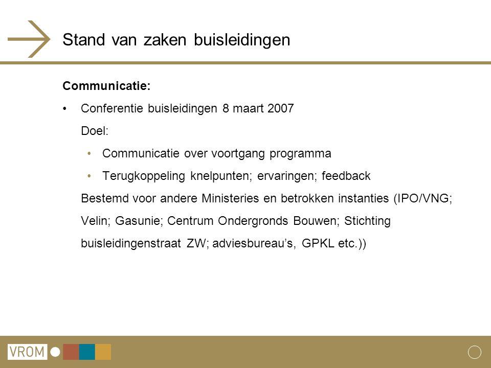 Stand van zaken buisleidingen Communicatie: Conferentie buisleidingen 8 maart 2007 Doel: Communicatie over voortgang programma Terugkoppeling knelpunt