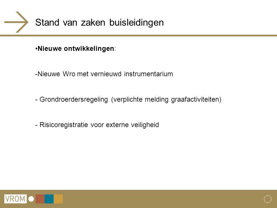 Stand van zaken buisleidingen Nieuwe ontwikkelingen: -Nieuwe Wro met vernieuwd instrumentarium - Grondroerdersregeling (verplichte melding graafactivi