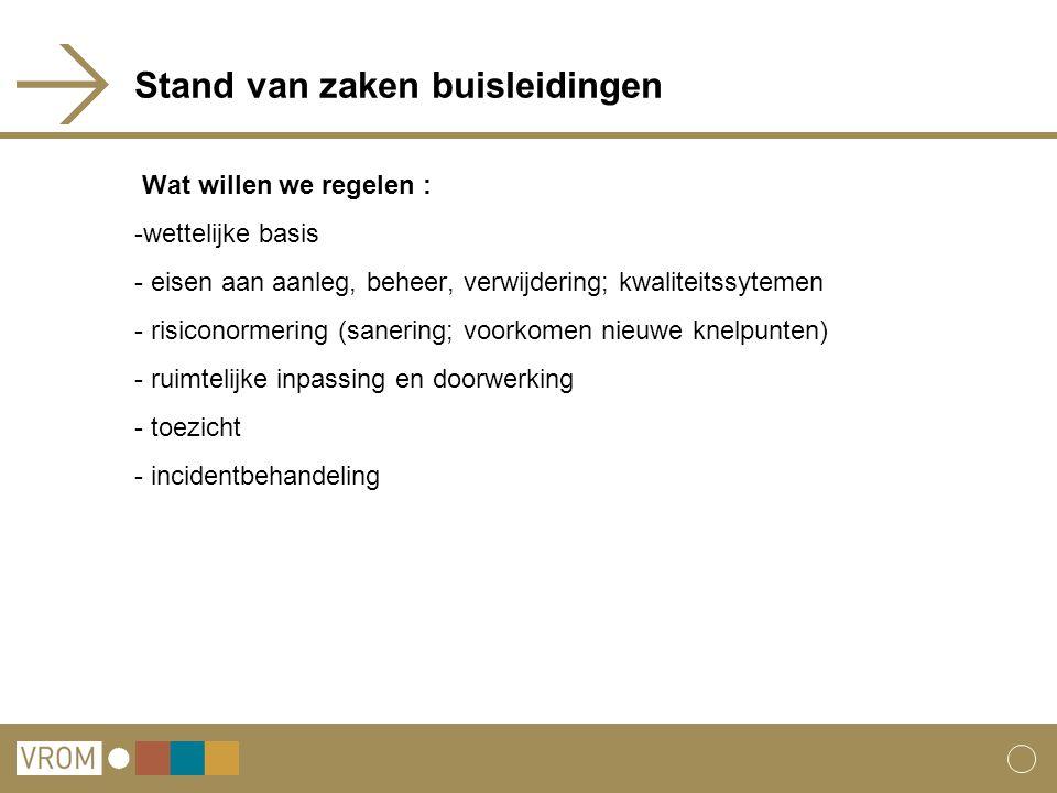 Stand van zaken buisleidingen Wat willen we regelen : -wettelijke basis - eisen aan aanleg, beheer, verwijdering; kwaliteitssytemen - risiconormering