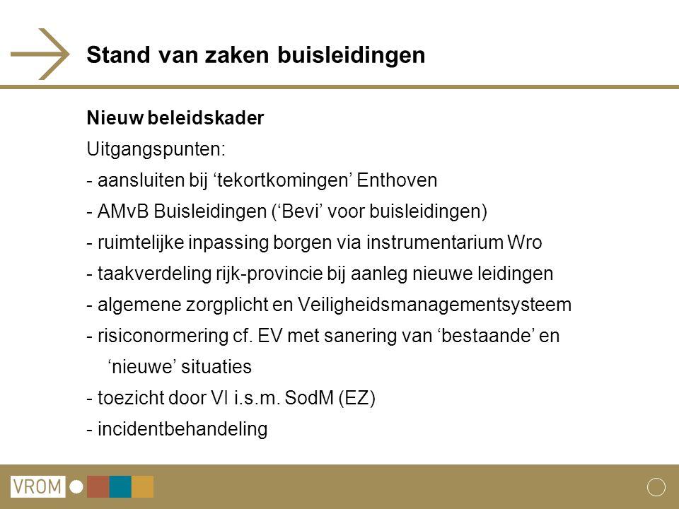 Stand van zaken buisleidingen Nieuw beleidskader Uitgangspunten: - aansluiten bij 'tekortkomingen' Enthoven - AMvB Buisleidingen ('Bevi' voor buisleid