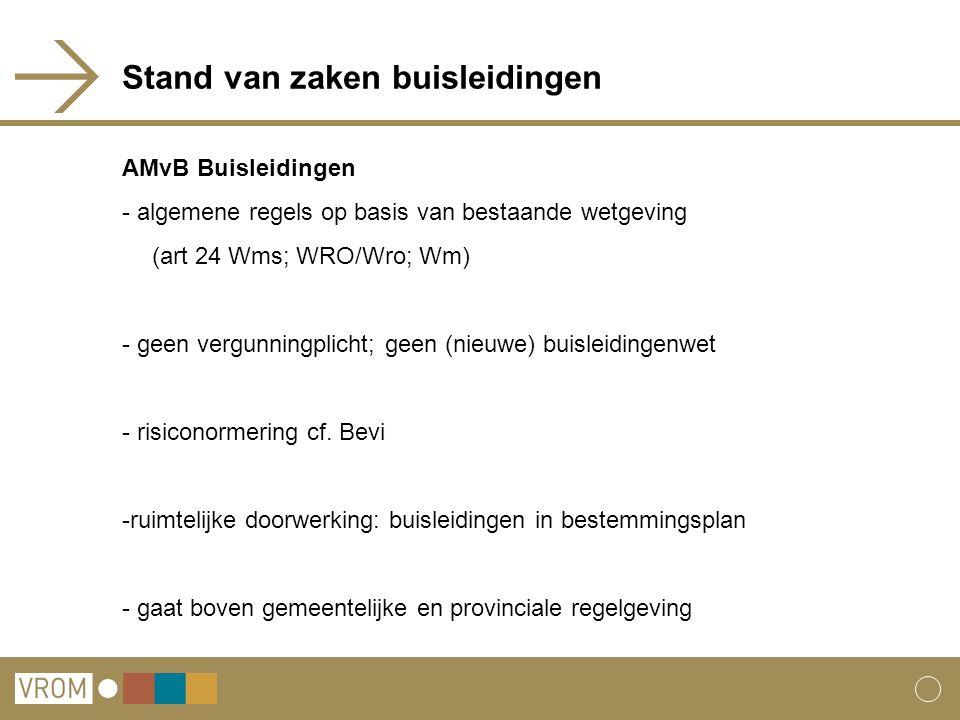 Stand van zaken buisleidingen AMvB Buisleidingen - algemene regels op basis van bestaande wetgeving (art 24 Wms; WRO/Wro; Wm) - geen vergunningplicht;