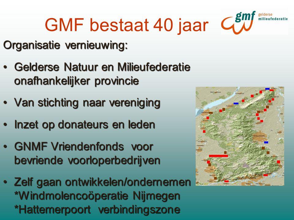 GMF bestaat 40 jaar Organisatie vernieuwing: Gelderse Natuur en Milieufederatie onafhankelijker provincieGelderse Natuur en Milieufederatie onafhankelijker provincie Van stichting naar verenigingVan stichting naar vereniging Inzet op donateurs en ledenInzet op donateurs en leden GNMF Vriendenfonds voor bevriende voorloperbedrijvenGNMF Vriendenfonds voor bevriende voorloperbedrijven Zelf gaan ontwikkelen/ondernemen - *Windmolencoöperatie Nijmegen *Hattemerpoort verbindingszoneZelf gaan ontwikkelen/ondernemen - *Windmolencoöperatie Nijmegen *Hattemerpoort verbindingszone
