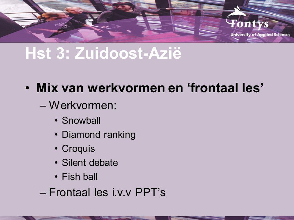 Hst 3: Zuidoost-Azië Mix van werkvormen en 'frontaal les' –Werkvormen: Snowball Diamond ranking Croquis Silent debate Fish ball –Frontaal les i.v.v PP