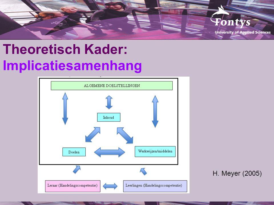 Theoretisch Kader: Implicatiesamenhang H. Meyer (2005)