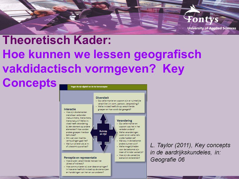 Theoretisch Kader: Hoe kunnen we lessen geografisch vakdidactisch vormgeven? Key Concepts L. Taylor (2011), Key concepts in de aardrijkskundeles, in: