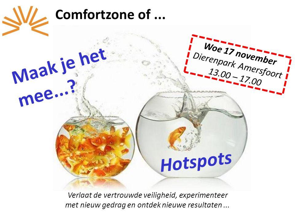 Comfortzone of... Verlaat de vertrouwde veiligheid, experimenteer met nieuw gedrag en ontdek nieuwe resultaten... Hotspots Woe 17 november Dierenpark