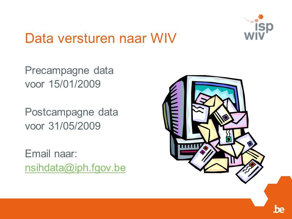 Data versturen naar WIV Precampagne data voor 15/01/2009 Postcampagne data voor 31/05/2009 Email naar: nsihdata@iph.fgov.be