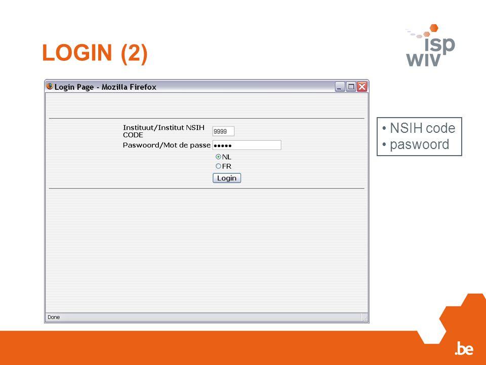 LOGIN (2) NSIH code paswoord