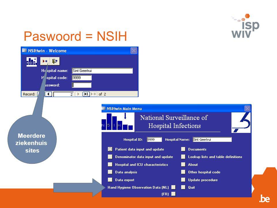 Paswoord = NSIH Meerdere ziekenhuis sites