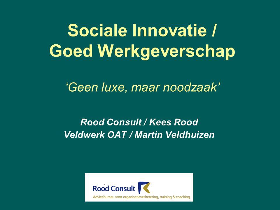 Sociale Innovatie / Goed Werkgeverschap 'Geen luxe, maar noodzaak' Rood Consult / Kees Rood Veldwerk OAT / Martin Veldhuizen